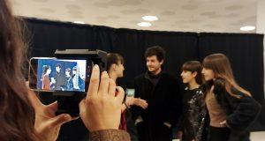 Els redactors del projecte Revista Escolar Digital (RED) durant els premis de cinema Gaudí.