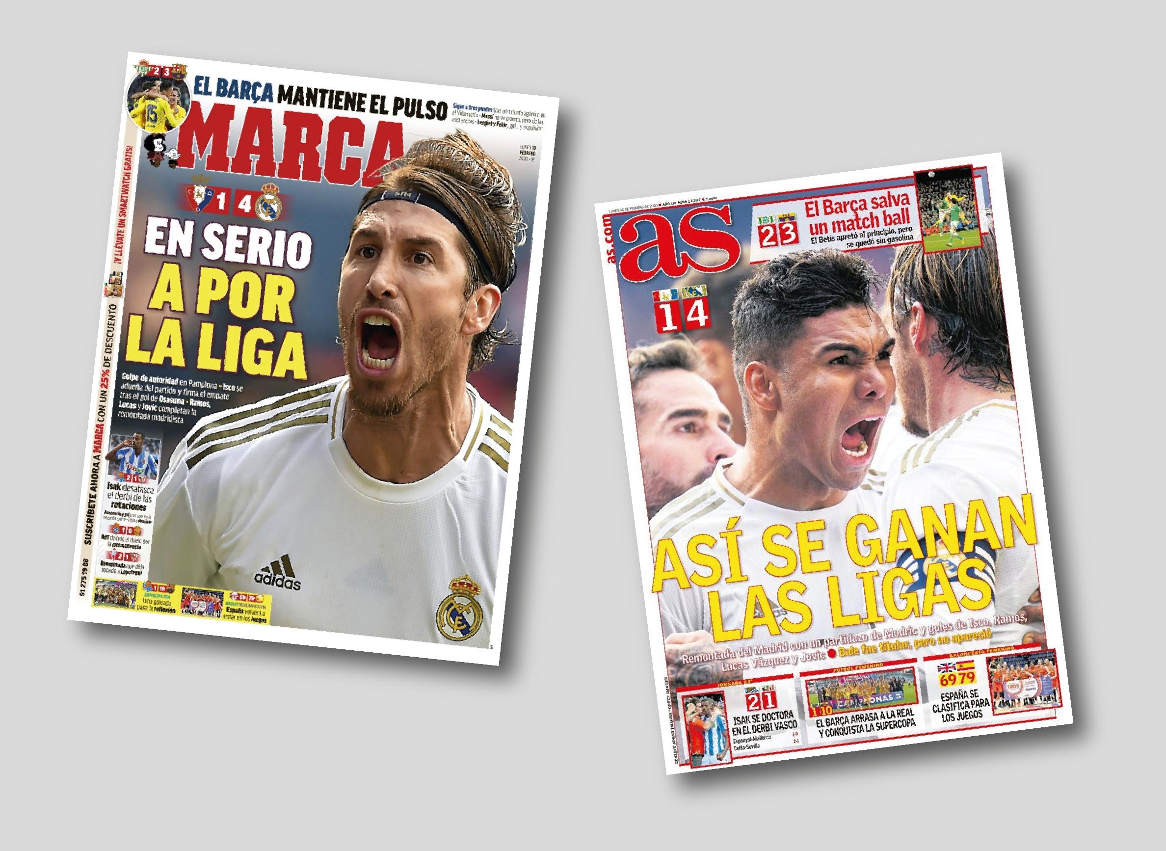 Portada del diari Marca i AS del dia 10 de febrer de 2020.