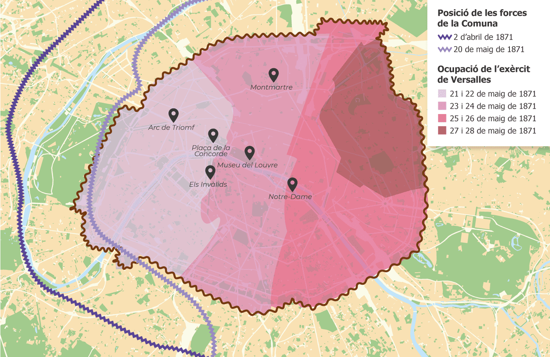 Mapa sobre l'avanç de l'exèrcit francès durant els últims dies de la revolució de la Comuna de París. L'entramat de la ciutat de París és actual