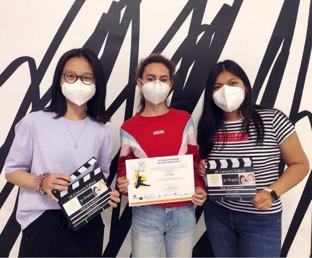 Les tres alumnes de l'Institud Fedac Lleida, creadores del curt 'Diario de Martina'